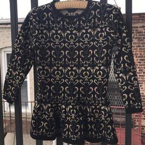 ASOS gold & black peplum sweater. Size 4